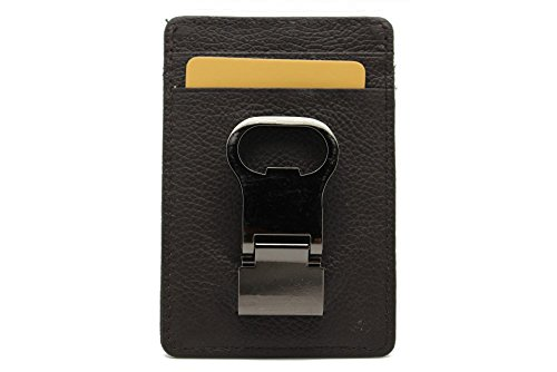 Genuine Leather Money Clip Wallet Bottle Opener for Men (JTC 51-3813) (Brown) (Money Clip And Bottle Opener compare prices)