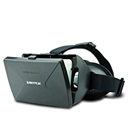 SUNNYPEAK Google Cardboard Plastic 3D VR Virtual Reality 3D Glasses with Magnet QR Code for IOS Android System iPhone Samsung HTC Moto LG Nexus Smart Phones 3D Video Movie Game Glasses, Black