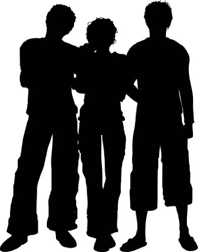 People Silhouette Wall Decals - Woman with Two Men Cool Urban Silhouette - 12 inch Removable Graphic