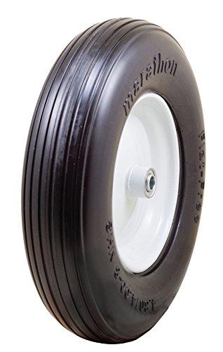 "Marathon 4.80/4.00-8"" Flat Free Tire on Wheel, 3"" Hub, 5/8"" Bearings, Ribbed Tread"