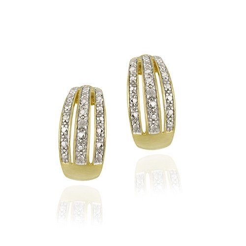 18K Gold over Sterling Silver Striped Half Hoop Earrings