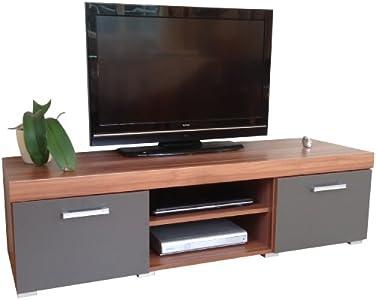 Cheap  Graphite & Walnut Sydney Large 2 Door TV Cabinet 140cm Unit
