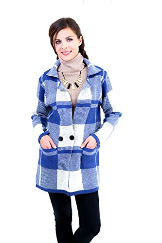 D&D Women's Long Sleeves Tailored Collar Open Plaid Jacquard Buttons Pockets Wool Outerwear