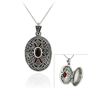 Sterling Silver Filigree Marcasite Garnet Cross Necklace, 18