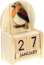 Robin : Hechos a mano calendario perpetuo de madera. Diversión peculiar de Navidad o idea del regalo de cumpleaños. Presente Comercio Justo (tamaño 10,5 x 7 x 3,5 cm)