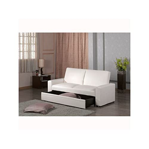 Edinburgh Sofa Bed with Storage Drawer Underneath on Castors - Space Saving, Strong Build (Ivory)
