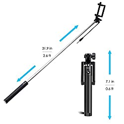 RoQ Best Quality Portable Self-Portrait Extendable Monopod with built-in Bluetooth Remote Shutter