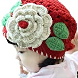 LadyMYP Handmade Knitted cap Baby cap Childrens hat Hats 100 Wool red Hat with further Flower