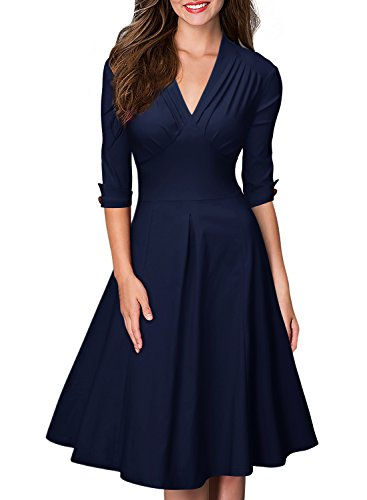 MIUSOL Women's Retro Deep-V Neck Half Sleeve Vintage Casual Swing Dress Navy Blue X-Large