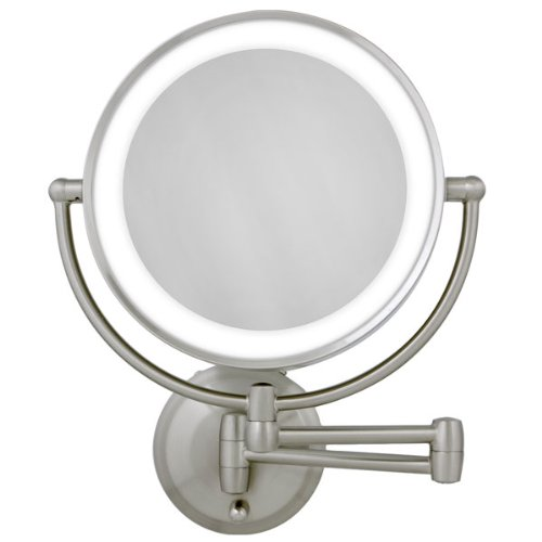Led Lighted Wall Mount Round Make-Up Mirror 10X-1X