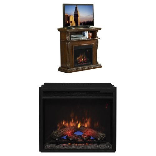 "Complete Set Corinth Media Mantel In Vintage Cherry With 23"" Spectrafire Plust Insert With Safer Plug"