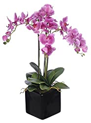 Artificial Triple-stem Phalaenopsis Orchid Arrangement Lavender