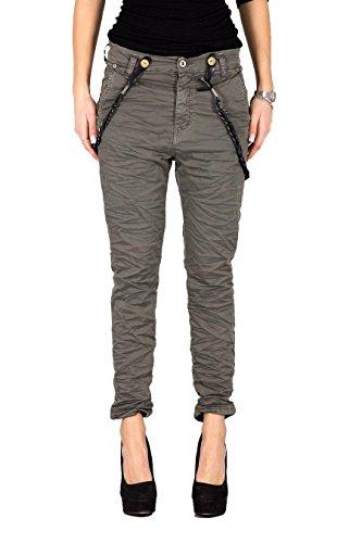 PLEASE - P59 pantaloni jeans da donna baggy stropicciato s grigio