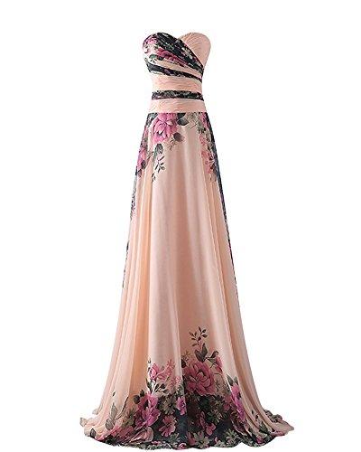 YipGrace Donna Senza Spalline Lunghi Eleganti Floreale Abiti Da Sera Pink S