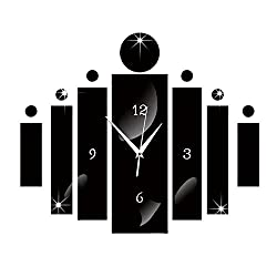 Happy Hours - Creative Wall Clocks / Home DIY Decoration Watch / Acrylic Craft Living Room Mirror 3D Wall Design(Black)