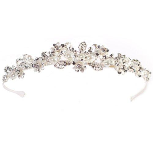 ID2019 Crystal  &  Ivory Pearl Silver Tone Wedding Tiara