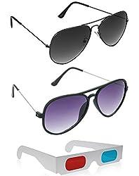 Combo of New Style Black Wayfarer Sunglasses + Grey Aviator Sunglasses + Free 3D Glasses ( New Style Black Sunglasses ) ( SUN6037 )