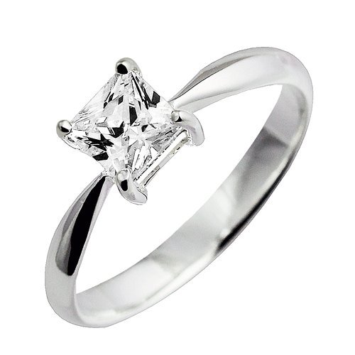 925 Sterling Silver Clear Cz Princess Cut Solitaire Prong Set Engagement/wedding Ring; Comes with Free Box(4)