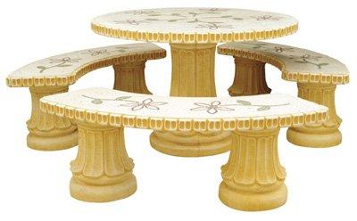conjunto Comedor de Piedra para Jardin Circular Romántico Pulido Decorado