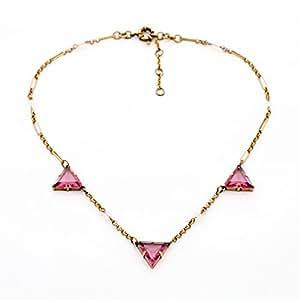 Red Imitation Crystal Triangle Colares Necklace Dress Jewelry: Jewelry