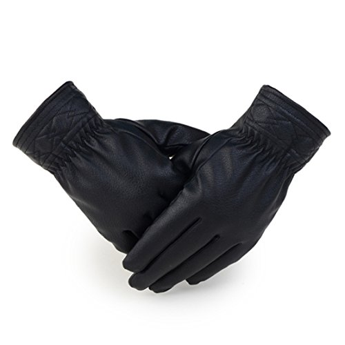 Ukamshop(TM)Men Winter Black Leather Gloves Fur Cape Glove Bike Motorcycle Gloves