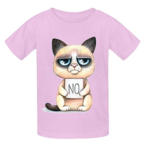 Grumpy Cat No Kid's Crew Neck Cotton Tees Pink (Z Clip Le Mans compare prices)