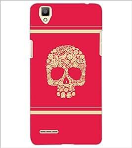 PrintDhaba Skull D-5945 Back Case Cover for OPPO F1 (Multi-Coloured)