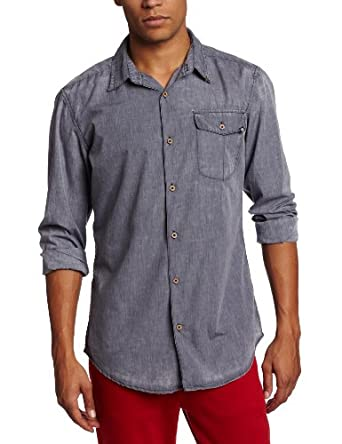 Cheap Monday Men's Loose Pocket Button Up Shirt, Blue, Small