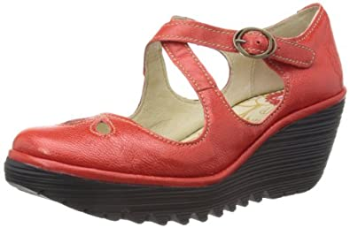 Fly London Women's Yate Red Wedges Heels P500275023 8 UK