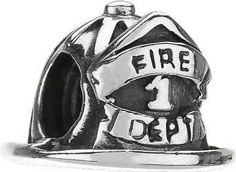 Authentic Chamilia Sterling Silver Firefighter Helmet Bead * GO-1