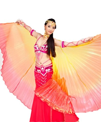 Isis Wings Belly Dance Props Dreamspell® India Egyptian Style Colorful Yarn Belly Dance Isis Big Wings for Dancer (Yellow,orange,red Mixed).