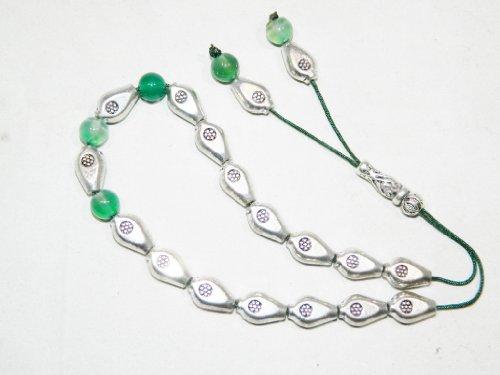 A2-0301 - Traditional Greek Komboloi Prayer Worry Beads - 19 Beads - Tibetan Silver Alloy Beads - Handmade by Jeannieparnell