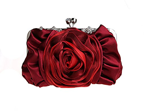 Cf-Fashion 11 Colors Womens Flower Bride Bag Lady Party Handbag Wedding Clutch Special Evening Purse (Wine Red)