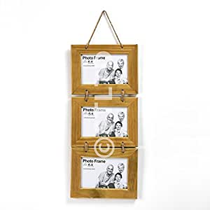 """SHABBY CHIC RUSTIC ANTIQUE NATURAL WOOD TRIPLE THREE 3 HANGING ROPE PHOTO PICTURE FRAME 6 X 4"""""""