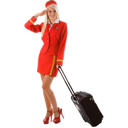 Red Air Hostess Costume Sizes 10-12, 14-16,18-20