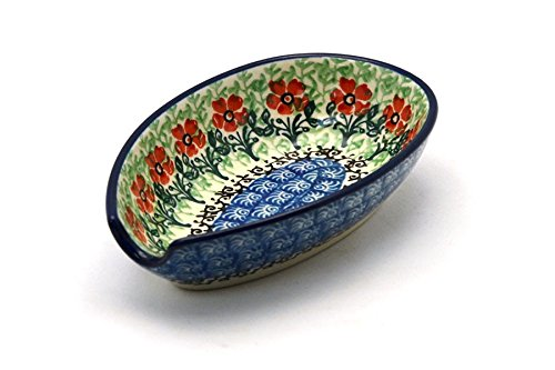 Polish Pottery Spoon Rest - Maraschino (Polish Stoneware Spoon Rest compare prices)