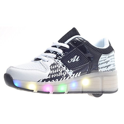 Highdas-Unisex-LED-Light-Up-Kids-Heelys-del-patn-de-ruedas-del-deporte-Zapatos-de-la-zapatilla
