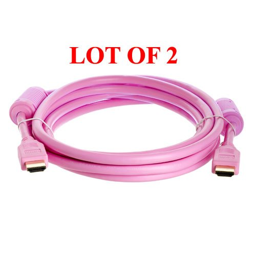 2-Pack 10-Ft Hdmi M/M Cable For Hdtv/Dvd Player Hd Lcd Tv(Pink)