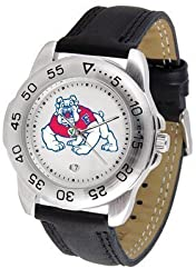 Fresno State Bulldogs Suntime Mens Sports Watch w/ Leather Band - NCAA College Athletics