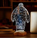 Hanperal 3d Glow LED Lamp - Kids Room Art Sculpture Lights Produces Unique Lighting Effects and 3d Visualization - Amazing Optical Illusion (Baymax)