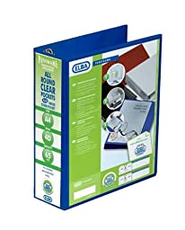 Elba Emgee Presentation Lever Arch File Clear Cover Pockets 2-Ring 70mm Spine A4 Blue Ref 560352 [Pack of 5]