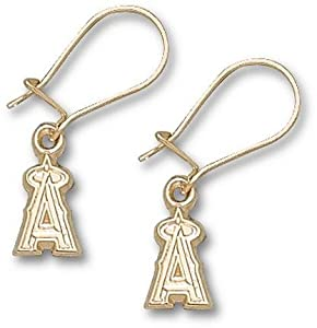 Los Angeles Angels of Anaheim 3 8 A Post Earrings - 10KT Gold Jewelry by Logo Art