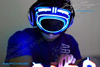 DJ LED Light Up MASK/ HUBOPTIC PAUSEII DJ EYE Mask for Electric Style GLOW mask Robot Robotic Mask Light Up LED Light Show mask electronic music party MASQUERADE Carvinal Carnaval festival edm concert Electronic Dance Music style Light Outfit skull costum