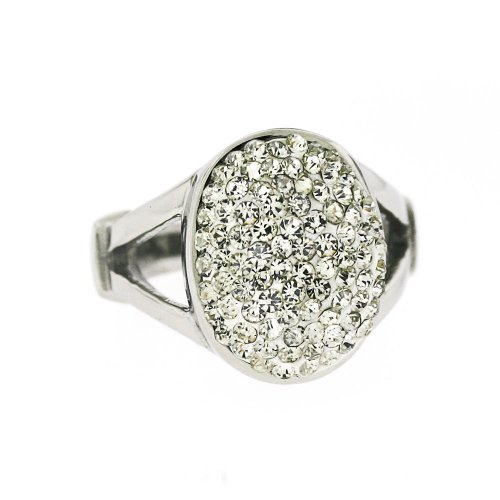 Ladies Stainless Steel Silver Tone White Crystal Oval Ring