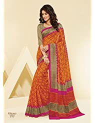 Brijraj Orange Bhagalpuri Printed Saree With Unstitch Blouse