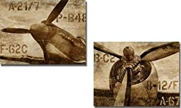 Vintage Airplane & Vintage Propeller by Dylan Matthews 2-pc Premium Stretched Canvas Set (Ready to Hang)