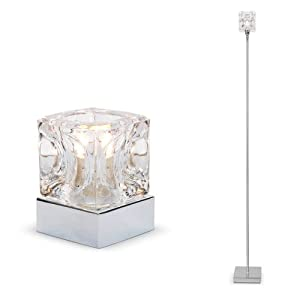 Modern chrome glass ice cube touch table lamp floor for Ice cube 3 light floor lamp