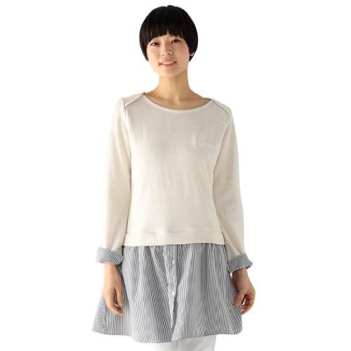 (エコマルシェ)ecomarche 裏毛×シャツドッキングワンピース 871297-1 06 オートミール L