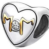 Gold and Silver Mom Heart Charm with clear crystal - Fits All Brand Charm Bracelets Pugster, Troll, Chamilla, Biagi and Pandora