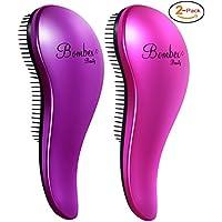 2-Pack Bombex Deluxe Detangling Hair Brush Set-Wet and Wild Brush (Purple & Pink)